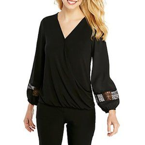EUC PL The Limited Petite Black Surplice Top